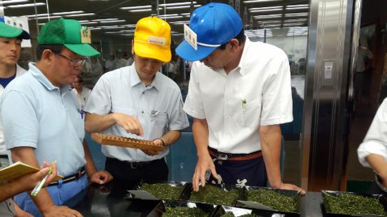 緑の帽子売り手「生産者」と青い帽子「買い手」の間に黄色い帽子「仲介人」が、五つ玉のそろばん片手に入って値段の交渉がはじまります。